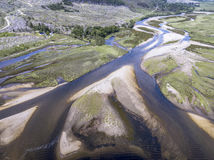 Amazing aerial view of the paradisal landscape of Glen Etive with the mouth of River Etive Royalty Free Stock Image