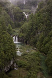 Amazing aerial view on Plitvice National Park waterfalls Stock Photos