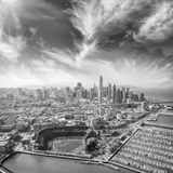 Amazing aerial view of San Francisco stadium, port and skyline.  stock photos