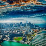 Amazing aerial view of San Francisco stadium, port and skyline.  stock image