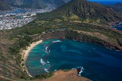 Amazing aerial view of scenic Haunama Bay Oahu Hawaii royalty free stock photography