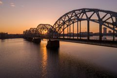 Amazing aerial view of the sunset over Old town of Riga, Vecriga in Latvia. River Daugava royalty free stock photography