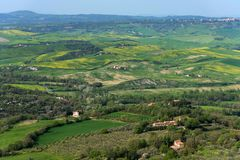 Amazing aerial view of Tuscany from Fortress of Tentennano. Beautiful panorama landscape near Castiglione d`Orcia,Tuscany, Italy. Amazing aerial view of Tuscany stock photo