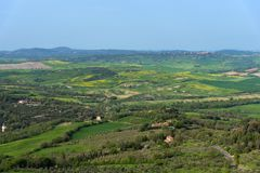 Amazing aerial view of Tuscany from Fortress of Tentennano. Beautiful panorama landscape near Castiglione d `Orcia,Tuscany, Italy. Amazing aerial view of Tuscany stock image