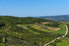Amazing aerial view of Tuscany from Fortress of Tentennano. Beautiful panorama landscape near Castiglione d`Orcia,Tuscany, Italy. Amazing aerial view of Tuscany royalty free stock image