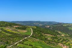 Amazing aerial view of Tuscany from Fortress of Tentennano. Beautiful panorama landscape near Castiglione d`Orcia,Tuscany, Italy. Amazing aerial view of Tuscany stock photography