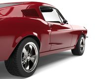 Amazing American vintage muscle car - cherry red - rear wheel closeup shot Royalty Free Stock Photos