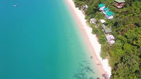 Amazing Ao Yon Beach with Clear Blue Water at Cape Panwa. HD Aerial. Phuket, Thailand. stock footage