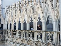 Amazing architecture at the duomo di milano italia italy milan rooftop view masterpiece. Amazing architecture duomo milano italia italy rooftop view masterpiece royalty free stock images