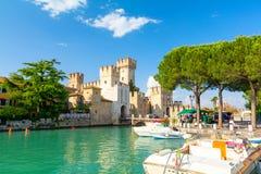 Castle in Sirmione on Lake Garda, Italy. Amazing architecture in Lake Garda stock image