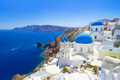 Beautiful churches of Oia town on Santorini island. Amazing architecture of Oia town on Santorini island, Greece Royalty Free Stock Images