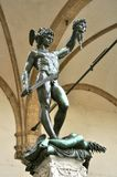 Amazing art in Florence city , Italy. Perseus with the Head of Medusa statue by Benvenuto Cellini in the Loggia dei Lanzi gallery on the edge of the Piazza della royalty free stock photos