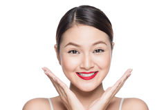 Amazing asian woman portrait retro make up red lips with perfect. Skin Royalty Free Stock Photo