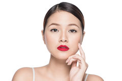 Amazing asian woman portrait retro make up red lips with perfect. Skin Royalty Free Stock Photos