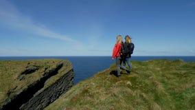 Amazing Atlantic coast of Ireland with its steep cliffs. Travel photography stock footage