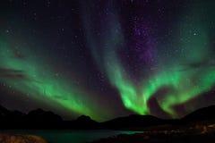 Amazing Aurora Borealis in North Norway Kvaloya stock photography