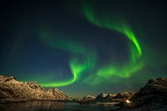 Free Amazing Aurora Borealis, Northern Lights, Over Mountains In The North Of Europe - Lofoten Islands, Norway Royalty Free Stock Photography - 163808707