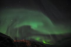 Amazing aurora and the fjord Stock Images