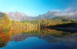 Amazing autumn lake scenery of Kagami Ike Mirror Pond in morning light with symmetric reflections of colorful fall foliage Royalty Free Stock Photography