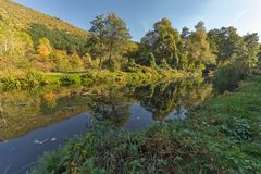 Autumn Landscape of Iskar River near Pancharevo lake, Sofia city Region, Bulgaria. Amazing Autumn Landscape of Iskar River near Pancharevo lake, Sofia city stock images