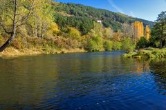 Autumn Landscape of Iskar River near Pancharevo lake, Sofia city Region, Bulgaria. Amazing Autumn Landscape of Iskar River near Pancharevo lake, Sofia city royalty free stock photo
