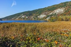 Amazing Autumn Landscape of Pancharevo lake, Sofia city Region. Bulgaria royalty free stock photo
