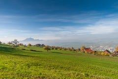 Amazing autumn landscape under Mount Rigi, Alps Stock Images