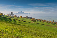 Amazing autumn landscape under Mount Rigi, Alps Stock Photography
