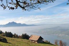 Amazing autumn landscape under Mount Rigi, Alps Stock Image