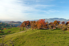 Amazing autumn panorama in Switzerland apls near town of Interlaken Royalty Free Stock Images