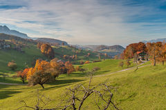 Amazing autumn panorama in Switzerland apls near town of Interlaken Royalty Free Stock Photos
