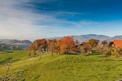 Amazing autumn panorama in Switzerland apls near town of Interlaken Stock Photos