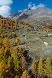 Amazing autumn view of Swiss Alps, Canton of Valais Royalty Free Stock Photography