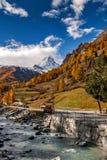 Amazing Autumn view of Zermatt Resort, Canton of Valais. Switzerland royalty free stock image