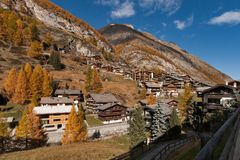 Amazing Autumn view of Zermatt Resort, Canton of Valais. Switzerland royalty free stock photography