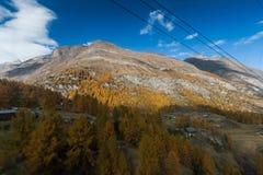 Amazing Autumn view of Zermatt Resort, Canton of Valais. Switzerland royalty free stock images