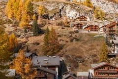 Amazing Autumn view of Zermatt Resort, Canton of Valais. Switzerland stock images