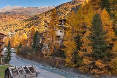 Amazing Autumn view of Zermatt Resort, Canton of Valais. Switzerland stock photography