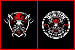 Amazing and Awesome firefighters with axe and shield vector crest logo template vector illustration