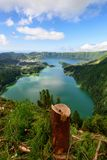 Amazing panoramic view of Sete Cidades lake in Azores island. Amazing Azorean landscape. Panoramic view of the lake of Sete Cidades, Azores, Portugal. Viewpoint Royalty Free Stock Photos