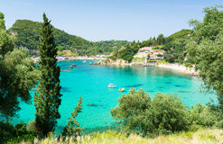 Amazing azure bay in Paleokastritsa in Corfu island, Greece Royalty Free Stock Photos