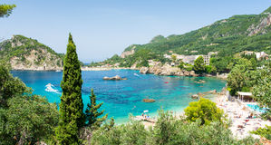 Amazing azure bay in Paleokastritsa in Corfu island, Greece Royalty Free Stock Photography