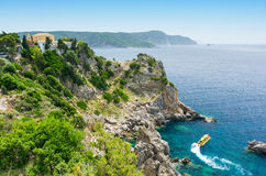 Amazing azure bay in Paleokastritsa in Corfu island, Greece Stock Images