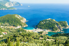 Amazing azure bay in Paleokastritsa in Corfu island, Greece Stock Photos