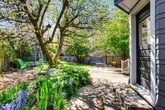 Amazing back yard with an abundance of greenery. Royalty Free Stock Image