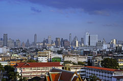 Amazing Bangkok scenic urban view of skyline business district from golden mountain viewpoint in Thailand Stock Images
