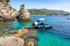 Amazing bay with crystal clear water in Paleokastritsa on Corfu island, Greece Royalty Free Stock Image
