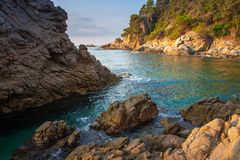 Amazing bay in Mallorca. Balearic seascape. Wild rocky beach in morning. Sea nature landscape in Spain. Lagoon in mediterranean stock photos