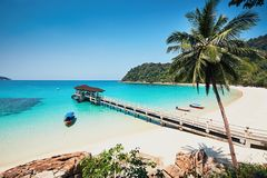 Amazing beach in Malaysia. Sunny day on the idyllic beach. Perhentian Islands in Malaysia royalty free stock images