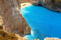 Amazing beach Navagio in Zakynthos, Greece Stock Image